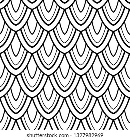 Monochrome Seamless Pattern with Natural Motifs. Endless Texture with Abstract Design Element. Dragon Scale Imitation, Mermaid. Coloring Book Page. Vector Contour Illustration. Ornate Abstraction