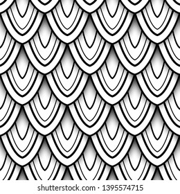Monochrome Seamless Pattern with Natural Motifs. Endless Texture with Abstract Design Element. Dragon Scale Imitation, Mermaid. Coloring Book Page. Vector 3d Contour Illustration. Ornate Abstraction