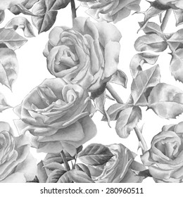 Monochrome seamless pattern with realistic watercolor roses.  Vector. Hand drawn.