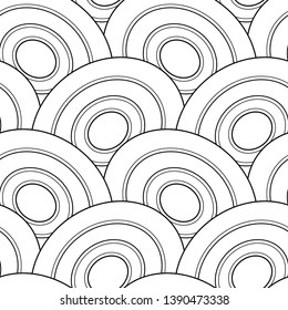 Monochrome Seamless Pattern with Scale Motifs. Endless Texture with Abstract Design Element. Dragon Imitation, Mermaid. Simple Coloring Book Page. Vector Contour Illustration. Ornate Abstraction