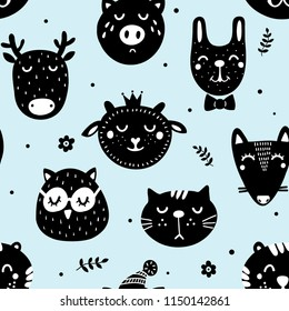 Monochrome seamless pattern in scandinavian style with cute doodle animals. Funny vector wallpaper.