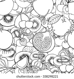 Monochrome Seamless pattern with set of sweet fruits and berries. Apples, kiwi, cherry. Food, fruit. Seamless texture. Doodle, cartoon drawing. Vector illustration