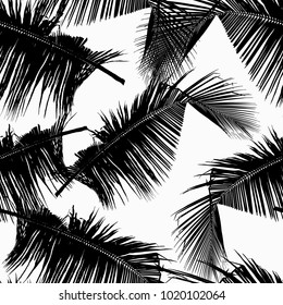 Monochrome Seamless Pattern of Tropical Leaves. Vector Illustration of Stylized Plants. Decorative Floral Background with Foliage. Design for Fabric or Wallpaper. Fashion Print for Textile. Palm Tree.
