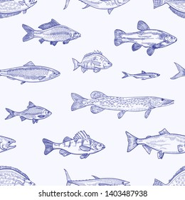 Monochrome seamless pattern with various types of fish hand drawn with contour lines on light background. Backdrop with sea or ocean animals, aquatic creatures. Elegant realistic vector illustration