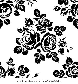 Monochrome seamless pattern with vintage roses. Vector background with black flower silhouettes. Floral wallpaper