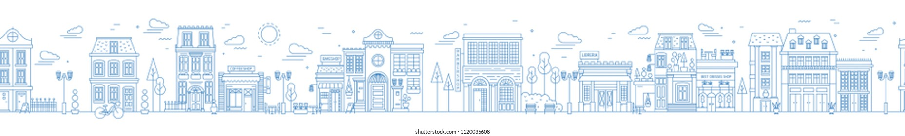 Monochrome seamless urban landscape with city street or district. Cityscape with residential houses and shops drawn with contour lines on white background. Vector illustration in lineart style