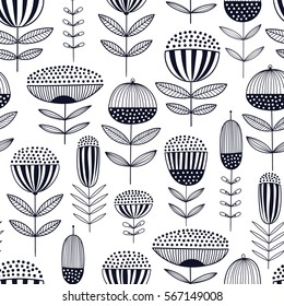 Monochrome seamless vector floral pattern with abstract flowers