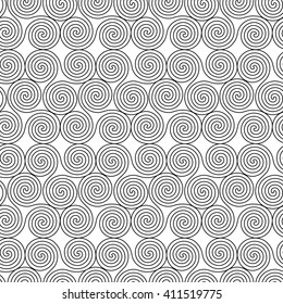 Monochrome seamless vector pattern with swirling triple spiral or Triskele, a complex ancient Celtic symbol, black shapes on the white background