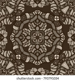Monochrome sepia vintage fantasy cartoon style seamless vector ornamental pattern with abstract flowers, leafs