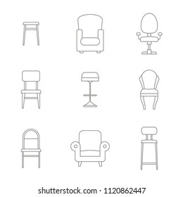 monochrome set with chair icons for your design