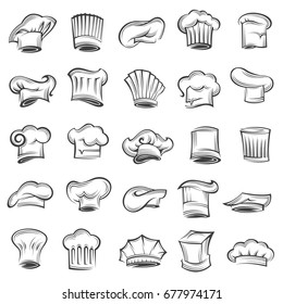 monochrome set of chef and cook hats