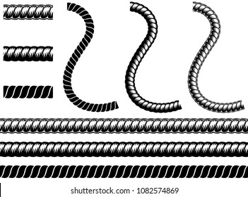 Monochrome set different rope in silhouette style. Seamless shape consisting of braided cord, for graphic design of logo, emblem, symbol, sign, badge, label, stamp, isolated on white background.