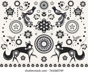 Monochrome set of elements in Scandinavian style for modern posters and prints. Birds and foxes with folk patterns. Vector illustration