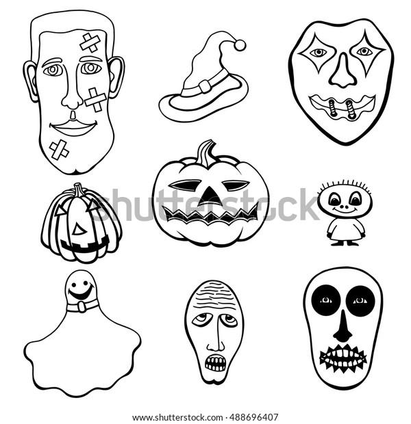 Monochrome Set Halloween Monsters Hats Black Stock Vector Royalty Free 488696407