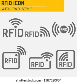 Monochrome set of icons RFID. set of icons featuring radio and radio waves. set of icons with different variations of RFID image in different forms. RFID logo with object of communication