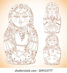 monochrome set of russian dolls matreshka