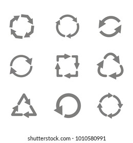 monochrome set with vector recycle icon for your design