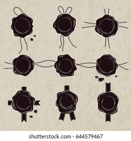 Monochrome set of wax seals. Vector illustrations isolate on white background
