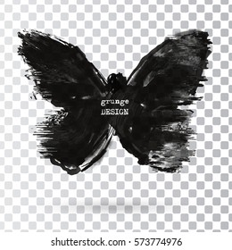 Monochrome Silhouette of butterfly isolated on transparent background. Abstract grunge decoration. Vector illustration.