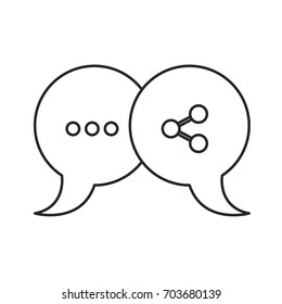 monochrome silhouette of pair speech bubbles with symbols of ellipsis and network vector illustration
