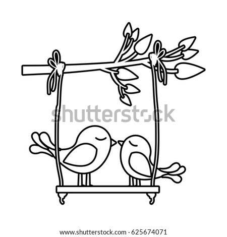 Monochrome Silhouette Tree Branch Swing Couple Stock Vector Royalty