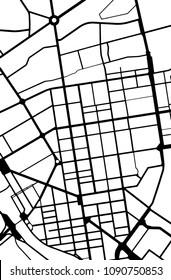 Monochrome simple city map. Vector illustration.