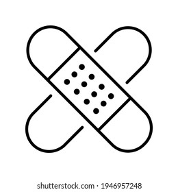 Monochrome simple medical plaster icon vector illustration. Linear crisscross adhesive bandage for covering protection wound injury isolated on white. Hygienic cure medicine patch safety recovery
