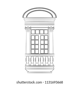 Monochrome Sketch of a Frame Window or a Balcony Door wih Corinthian Order Columns and Fronton. Free Hand Draw. Freefand Drawing Exterior. Vector Illustration. Classical Architecture. Boroque Building