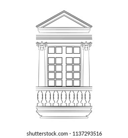 Monochrome Sketch of a Frame Window or Balcony Door with Corinthian Order Columns and Fronton. Free Hand Draw. Freefand Drawing Exterior. Vector Illustration. Classical Architecture. Boroque Building