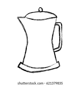 monochrome sketch hand drawn of metallic kettle of coffee with handle vector illustration