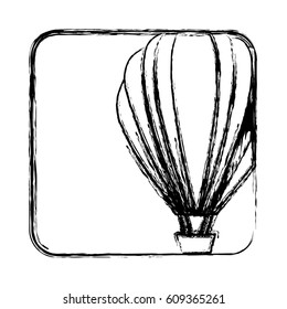 monochrome sketch with hot air balloon in square frame vector illustration
