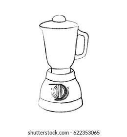 monochrome sketch of kitchen blender vector illustration