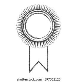 monochrome sketch of medal with wide ribbon vector illustration