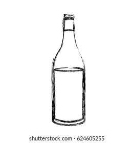 monochrome sketch silhouette with bottle of wine side back vector illustration