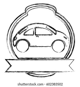 monochrome sketch of sport car in heraldic round frame and banner vector illustration