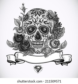 Monochrome Skull, diamond and Flowers Day of The Dead Vintage Card, Vector illustration