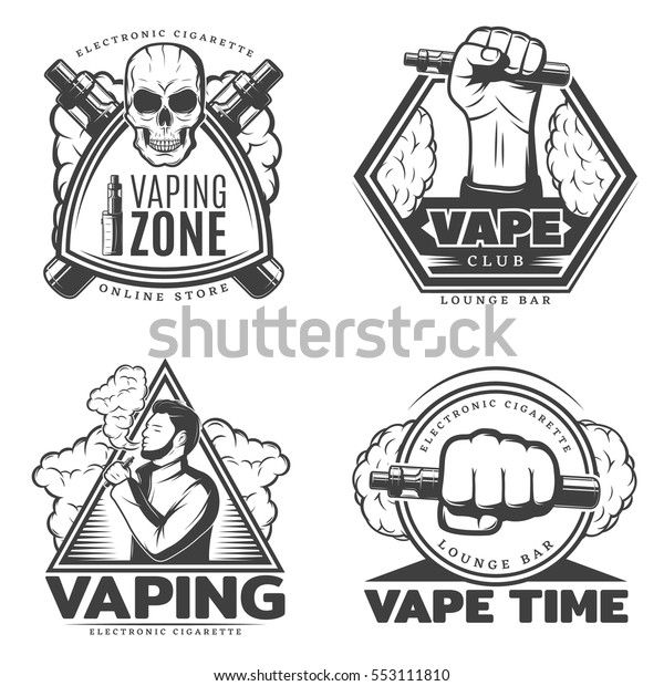 Monochrome Smoke Labels Electronic Cigarette Vaporizer Stock