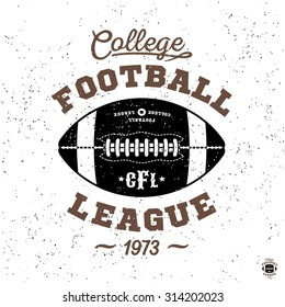 "monochrome sport hipster vintage label , badge, crest ""college football league"" for flayer poster logo or t-shirt apparel clothing print with lettering and ball"