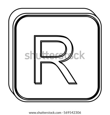 Monochrome Square Contour Currency Symbol Rand Stock Vector Royalty