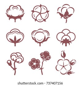 Monochrome stylized pictures set of white cotton flowers. Vector illustrations set. Cotton flower plant, organic ball fluffy boll