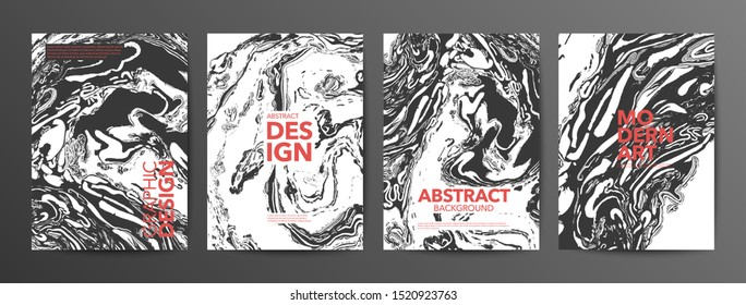 Monochrome suminagashi paper vector banners set. Modern art posters collection. Black and white ebru stains illustrations with red typography. Art exhibition background. Acrylic painting backdrop