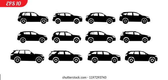 Monochrome SUV car icon set. Collection black silhouette isolated on white background. Black sign for car service, repair, shop, web or magazines. Vector illustraion.