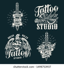 Monochrome tattoo salon prints with swallow keeps rose in its beak daggers fiery heart with angel wings and barbed wire in vintage style isolated vector illustration