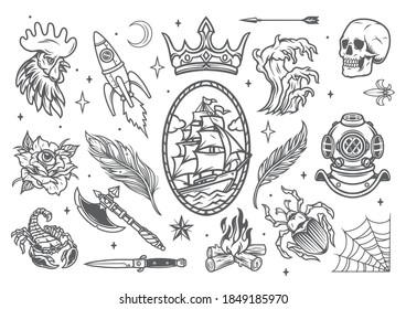 Monochrome tattoos set in vintage style with nautical emblem rocket animals feathers crown arrow skull diver helmet tsunami bonfire ax knife crescent flower with eye isolated vector illustration
