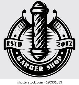 monochrome templates for barber pole on the topic of barber shop