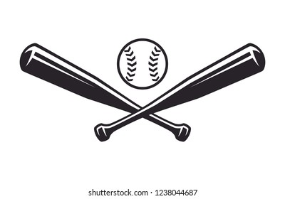 Monochrome two crossed baseball bats, icon sports tool. Vector illustration, isolated on white background. Simple shape for design logo, emblem, symbol, sign, badge, label, stamp.