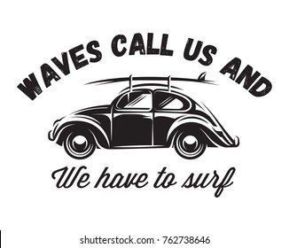 monochrome vector badge with car for traveling to the ocean.