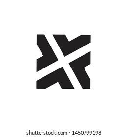 monochrome vector cross square logo design