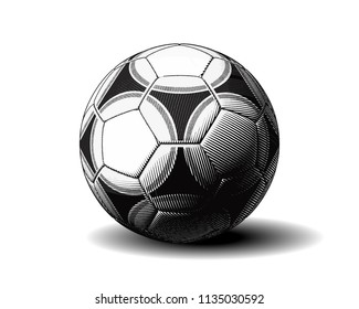 Monochrome vector engraving soccer ball  isolated on white background