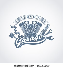monochrome vector garage service logo in a retro style; vintage car repair service emblem with a wrench, shock absorber, motorcycle engine, piston and crankshaft
